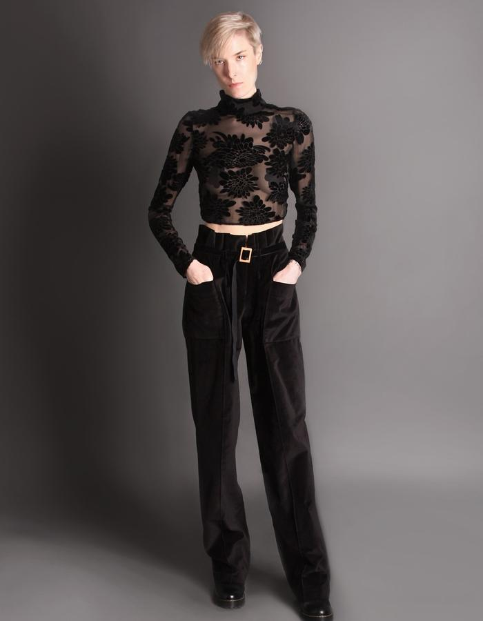 Croptop velvet transparent + Velvet trousers with belt and bamboo buckle