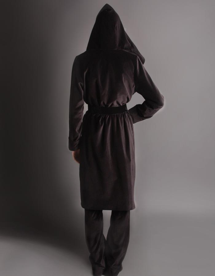 Velvet short coat with hoodie back