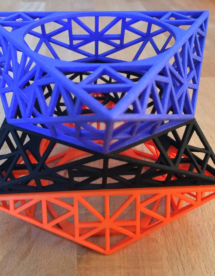 Tria to Hex bangle stack 3 - Hand dyed Additive Nylon ( SLS 3d print )