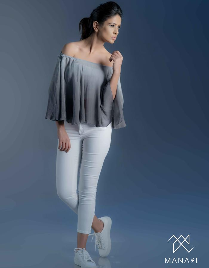 Grey shaded Cape top