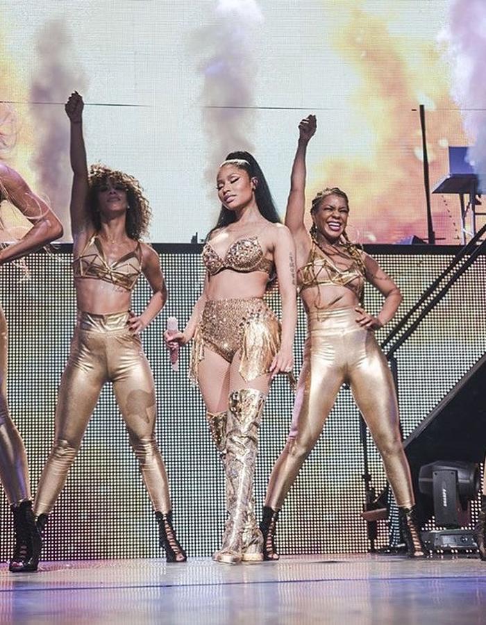 Nicki Minaj tour - gold bras