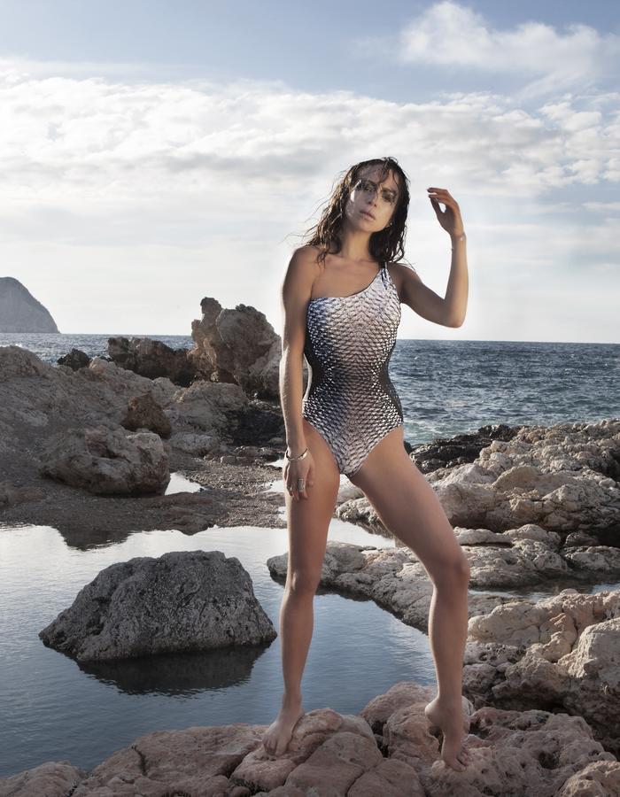 Mona Swims Asymetric Swimsuit - Print Venus