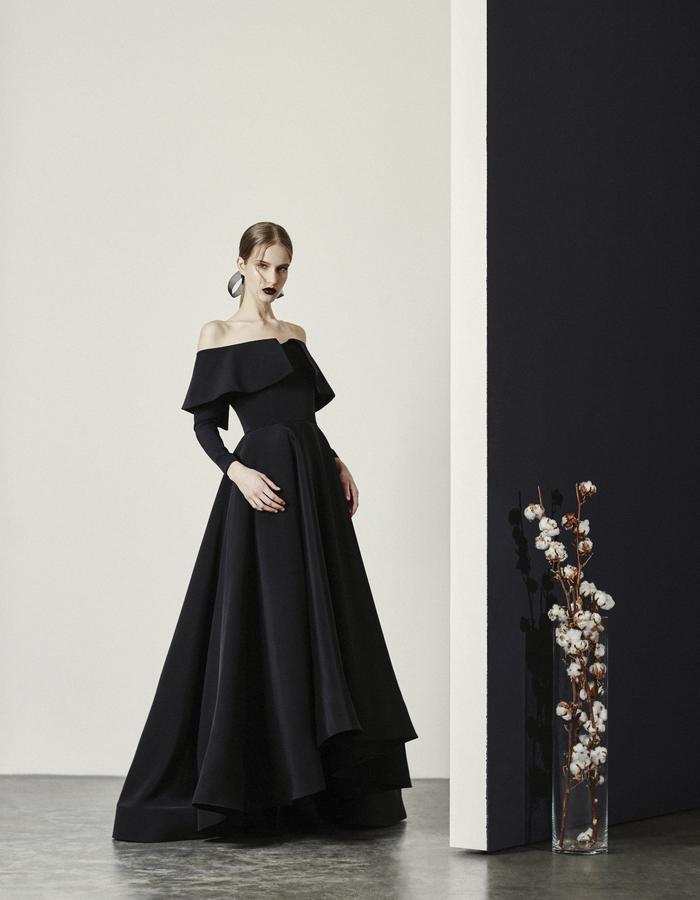 Persephone- Off Shoulder Long Sleeve Gown with hi/low hem