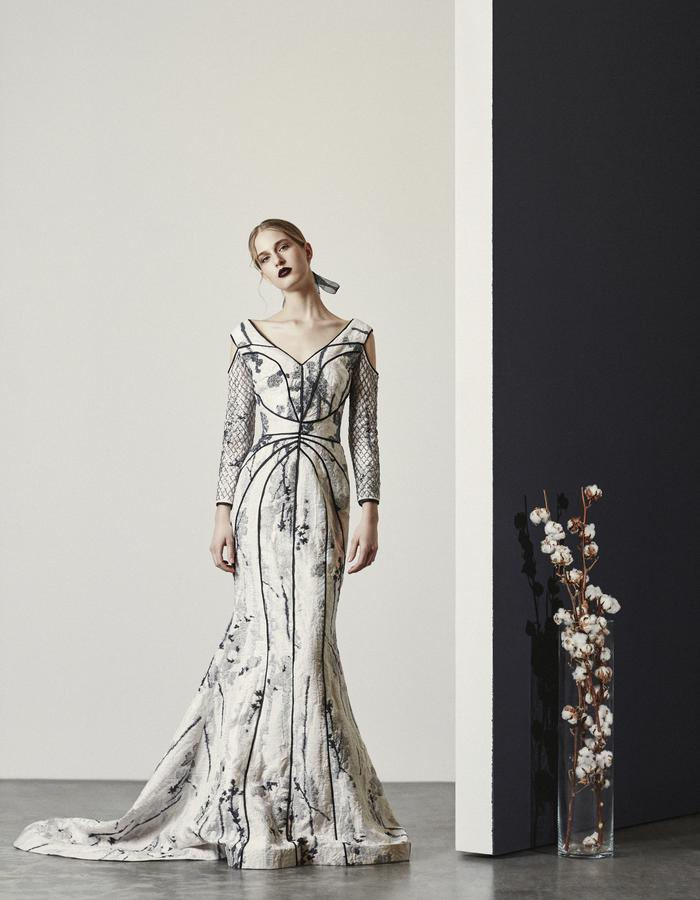 Atalanta- B+W Jacquard Gown with Beaded Bodice and Sleeves