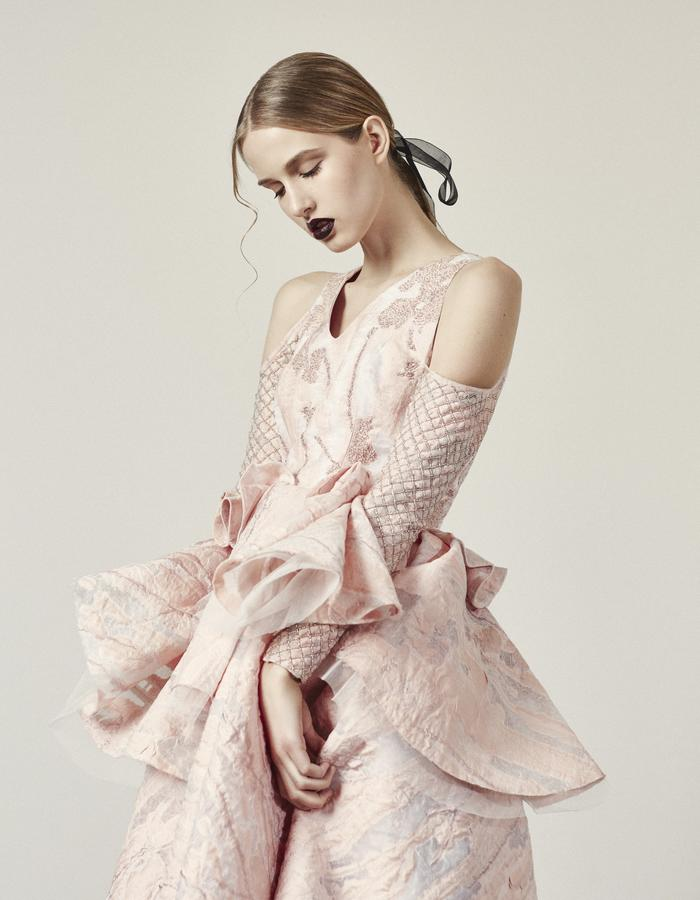 Aphrodite- Short Pink Jacquard Dress with Beaded Bodice and Sleeves
