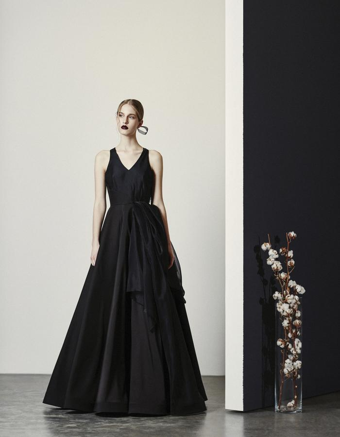 Nyx- Black Crepe Gown with Silk Organza Side Drape
