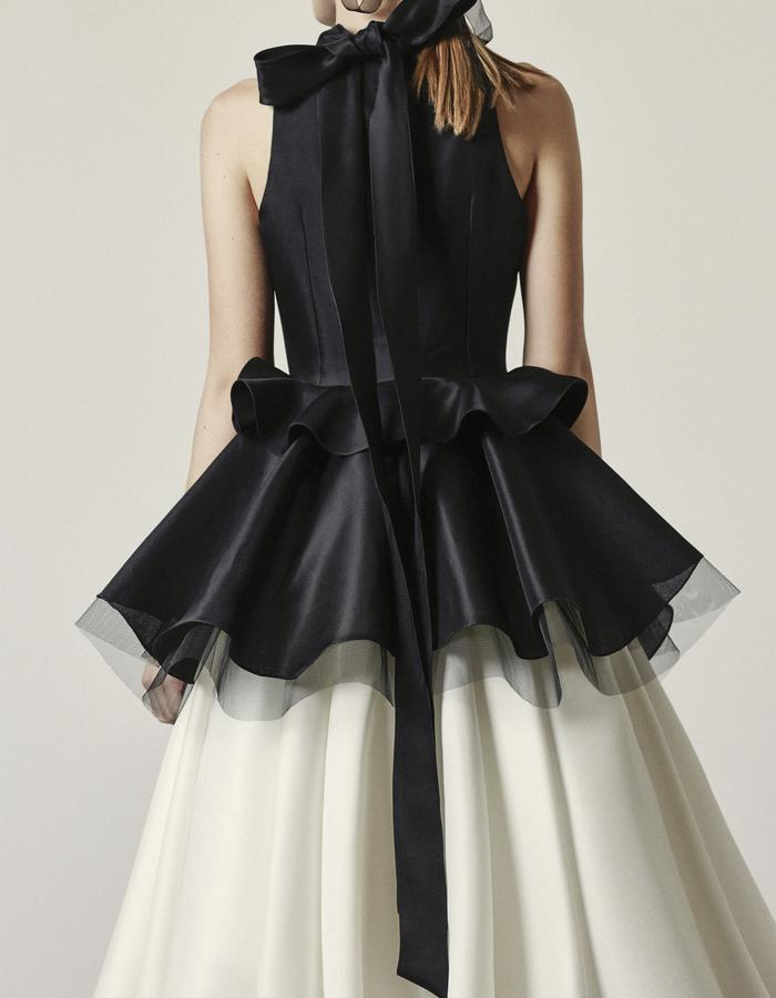 Themis - Black and White Mid Calf Silk Gazaar Gown