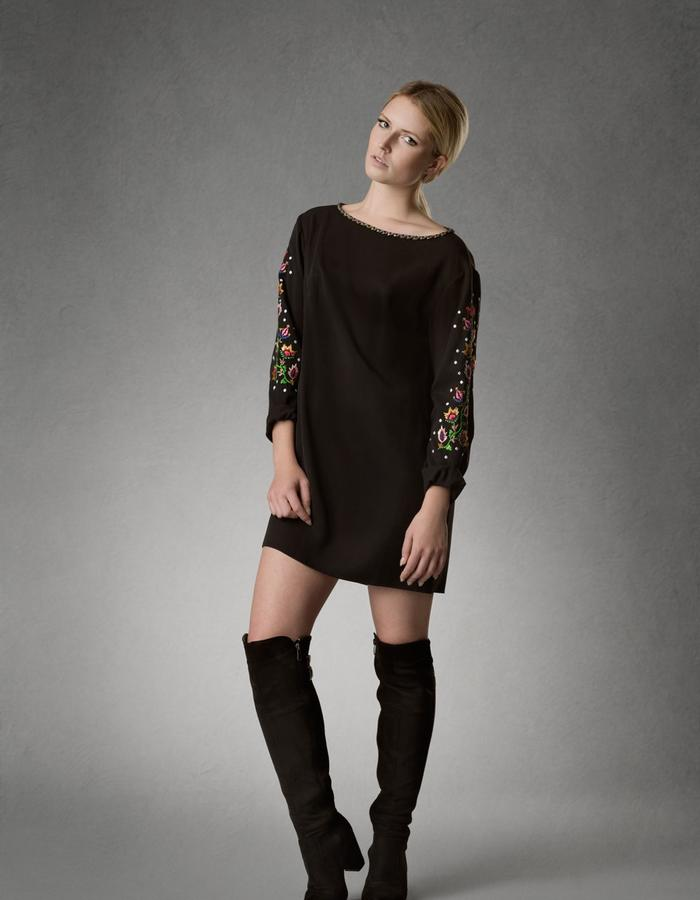 Estyn,  mini dress, sleeve interest, sustainable fashion, embroidered dress