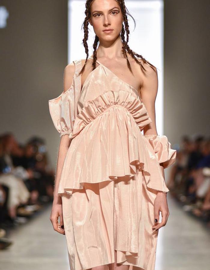 Moire ruffle dress.