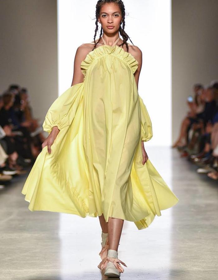 Yellow cotton ruffle dress.