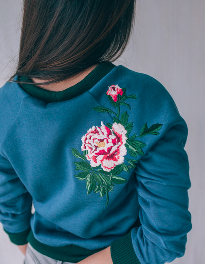 """All I Wear is You"" blue fleece lined cotton sweatshirt with peony embroideries"