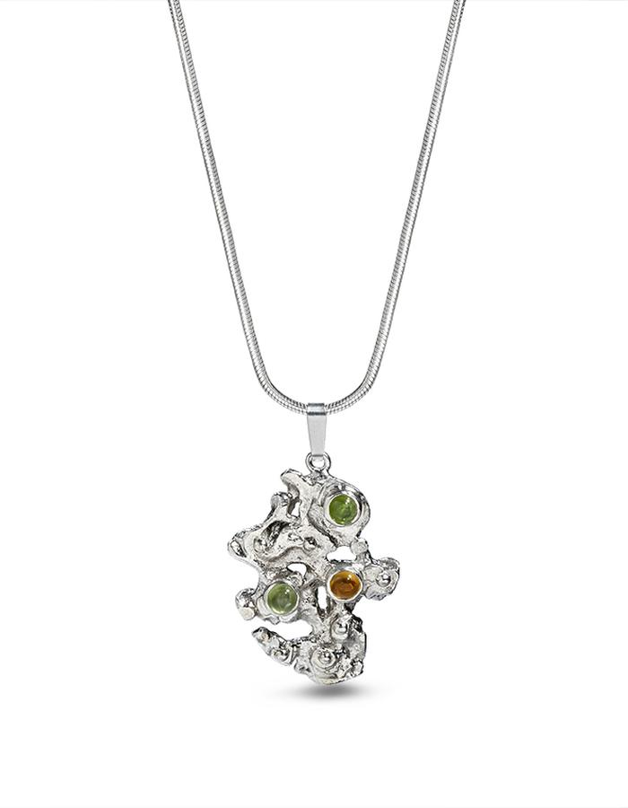Sterling silver peridot and citrine pendant - the mountain
