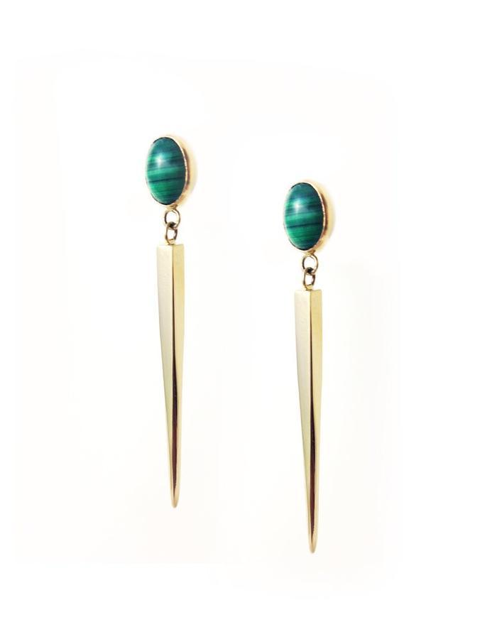 24k Gold Vermeil Malachite Earrings