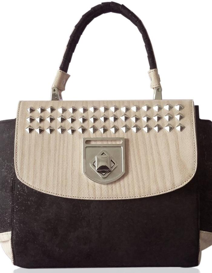 Vegan luxury handbag - made of sewn wood, cork and organic cotton velvet lining