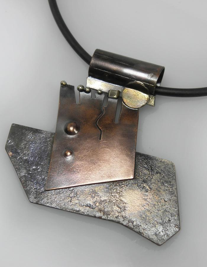 pendant - copper, sterling silver, brass, patina
