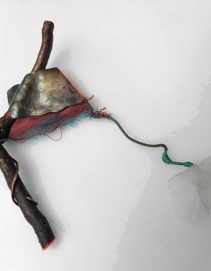 "BROOCH ""FLUID FLOWER"" - electroformed wood, shantung and transparent silk, copper, sterling silver, threads, color"