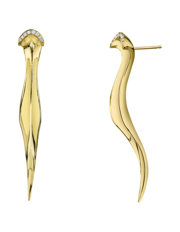Persephone earrings, 18K and white diamond detail