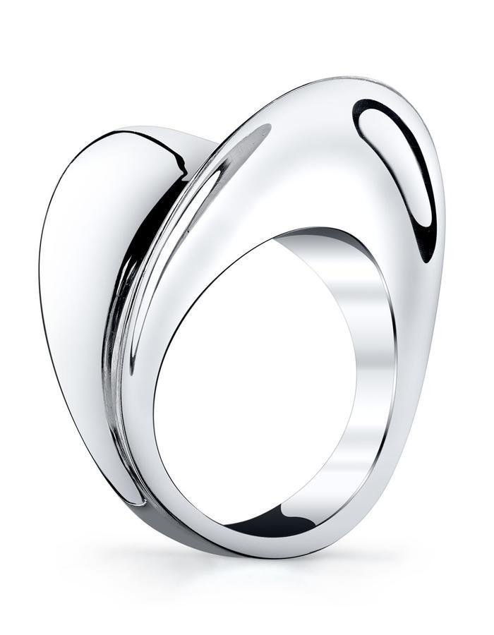 Lyra ring, 18k white palladium