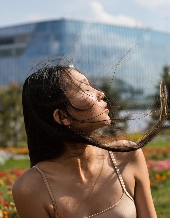 Girl with wind