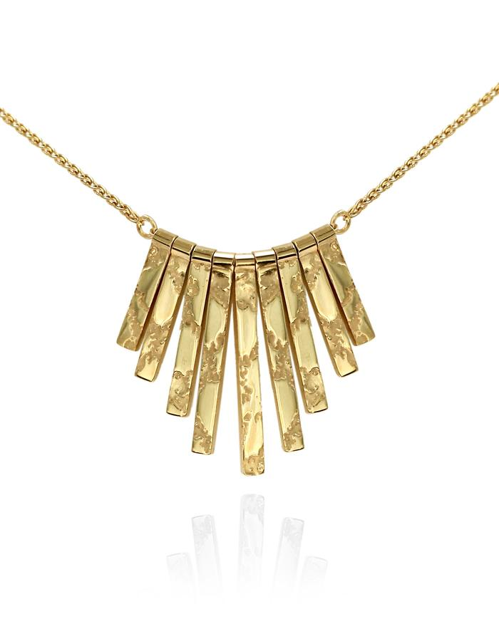 9-strand 'Skin' textured pendant - gold plated sterling silver