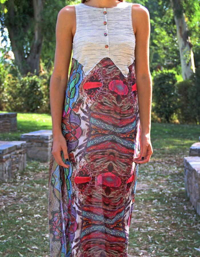 Long Dress Muslin skirt printed with Paint