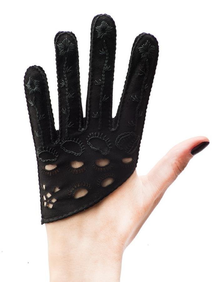 Venus black suede, hand embroidered, laser cut