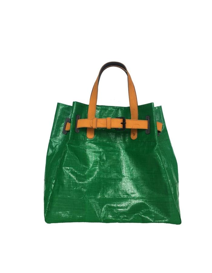 "Handmade Sustainable, made by combining recicle material and natural leather. higth 17"", wide 16"", deep 7"""