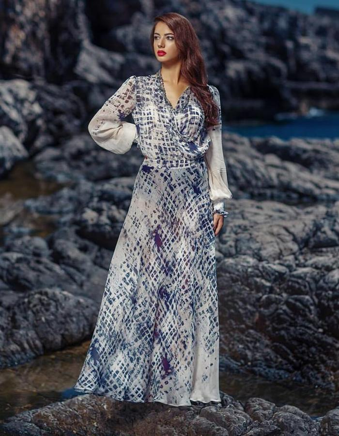 Long loose silk dress with body under. Hand made details on sleeves