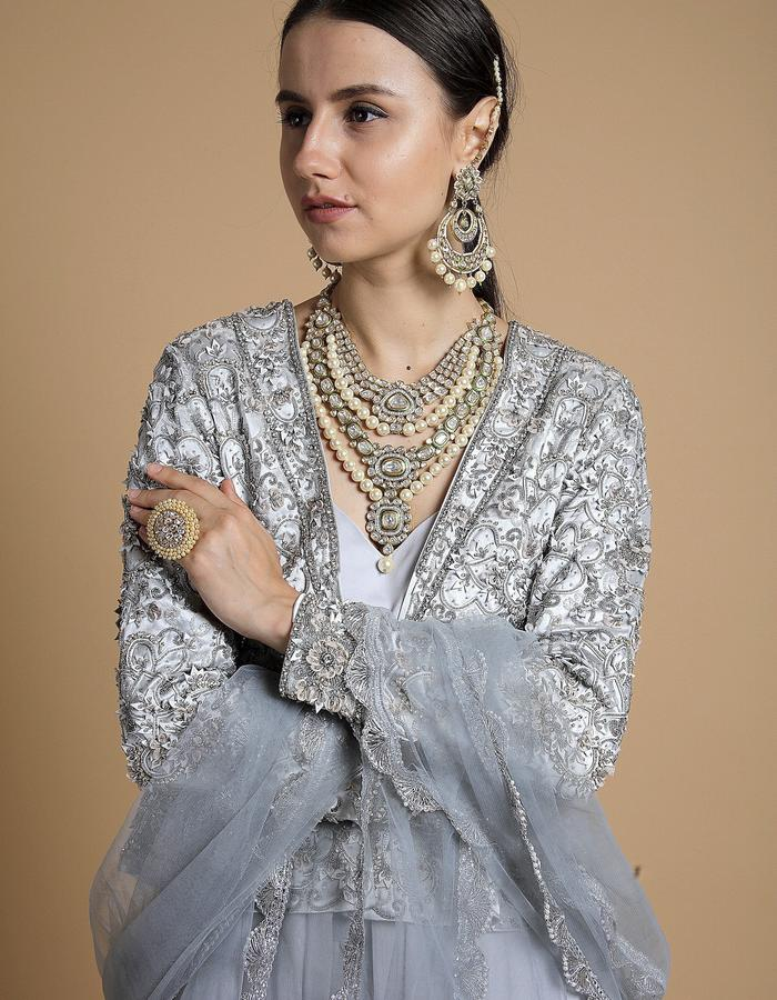 pearl grey leather embroidered lehenga set