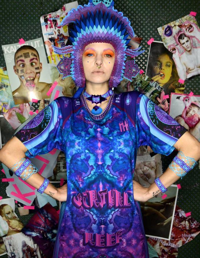 Mina Medusa wearing NXK @ BAFW in Berlin shot by @Kaltblutmagazine #colourtribe #seapunk #sportswear #activewear #mermaid #scluptural #alternatematerials #lasercut #3dprinting #technology #silicone #latex #armor #kawaii #sugoi #streetwear  #mesh #embroidery #digitalprinting #painting #origonalartwork #artprint #neopreene #harness #swimwear