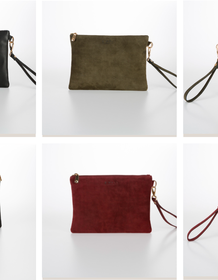 Double sided clutch bag suede & leather
