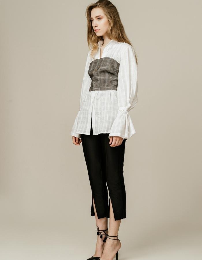 Glen Plaid Bandeau Over White Shirt and Cropped Tailored Pants in Black