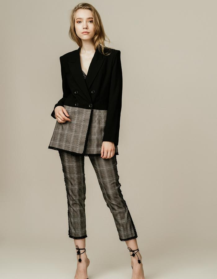 Double Breasted Two Toned Blazer and Glen Plaid Pants with Trim Details