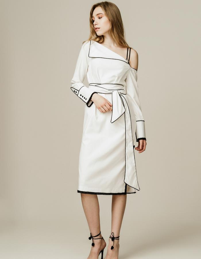 Piping Trim One Shoulder Midi Dress