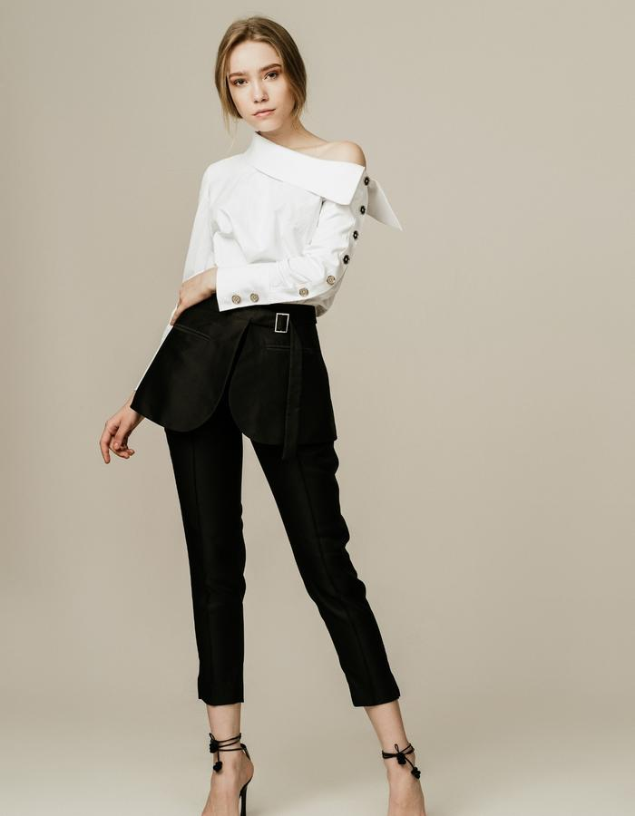 Structural Off Shoulder Top and Peplum Straight Leg Pants