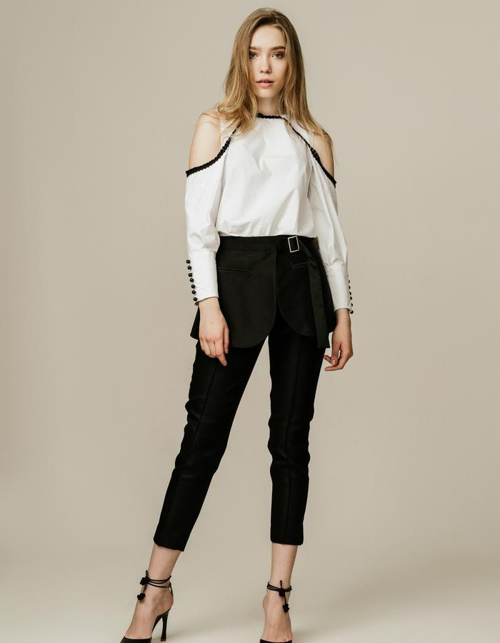Cold Shoulder Piping Top and Peplum Straight Leg Pants