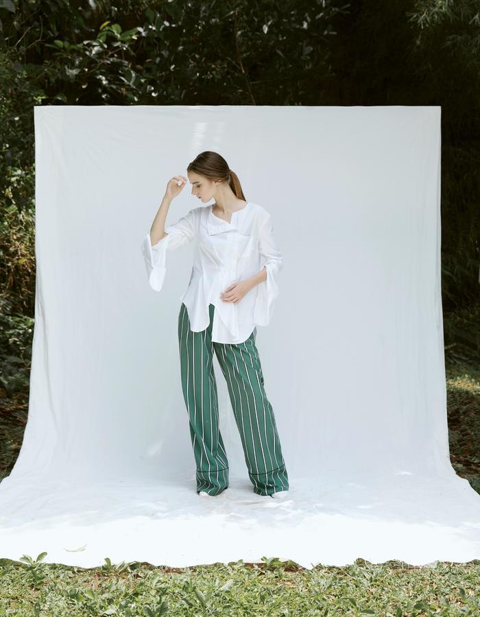 Asymmetric Cotton Blend Shirt and Semi Wool Wide Leg Pants