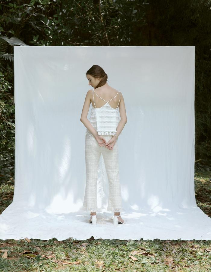 Camisole in Lace and Tweed Pants with Frayed Hem