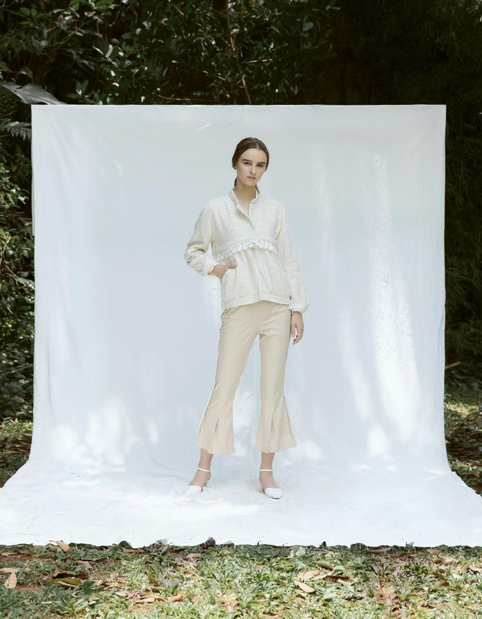 Tweed Bomber Jacket and Flare Pants with Slits