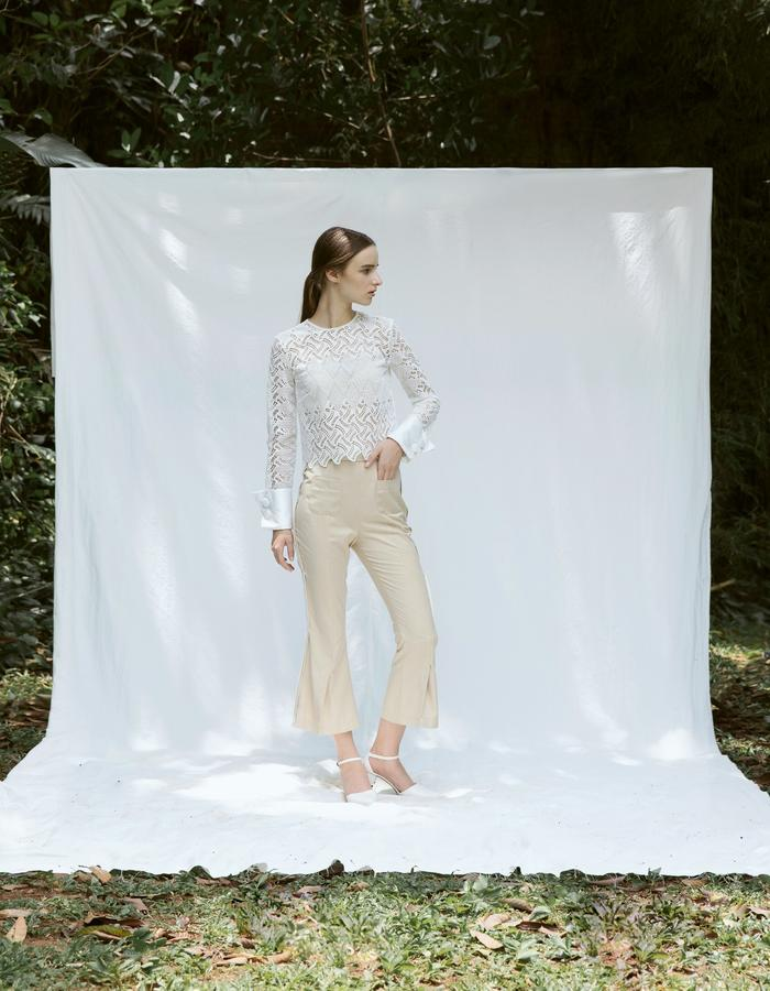 White Cuff Detail Lace Top and Flare Pants with Slits