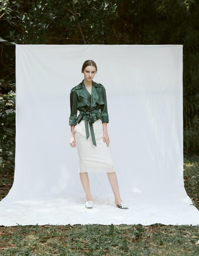 Satin Trench Top and Tweed Pencil Skirt