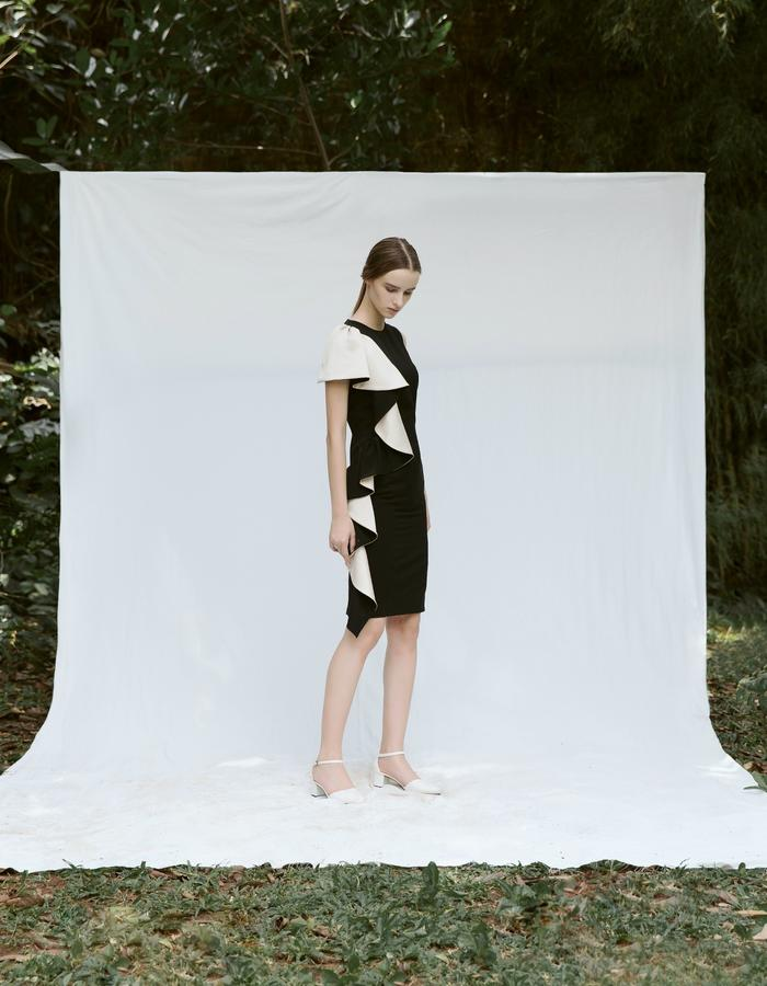 Midi Dress with Side Frill