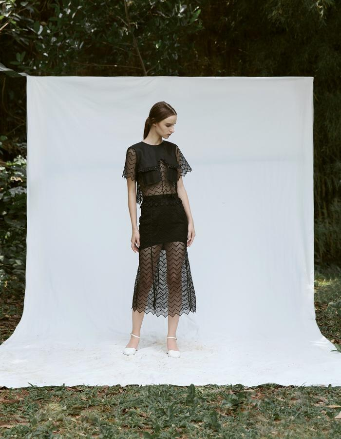 Black Cropped Top with Ruffle Pockets and Black Mermaid Lace Skirt