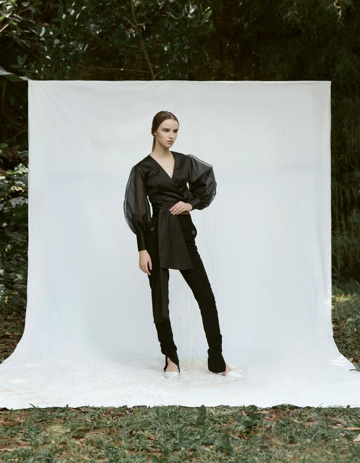Balloon Sleeve Wrap Top and Ruched Ankle Pants Black