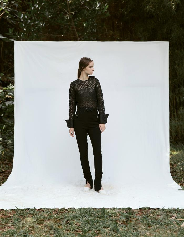 Black Cuff Detail Lace Top and Black Ruched Ankle Pants