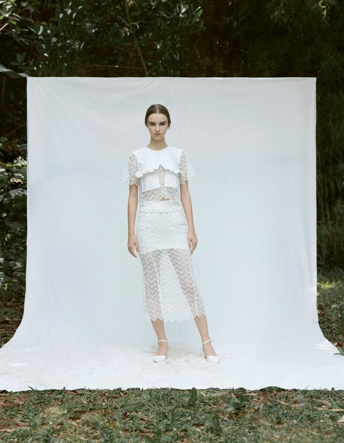 White Cropped Top with Ruffle Pockets and White Mermaid Lace Skirt