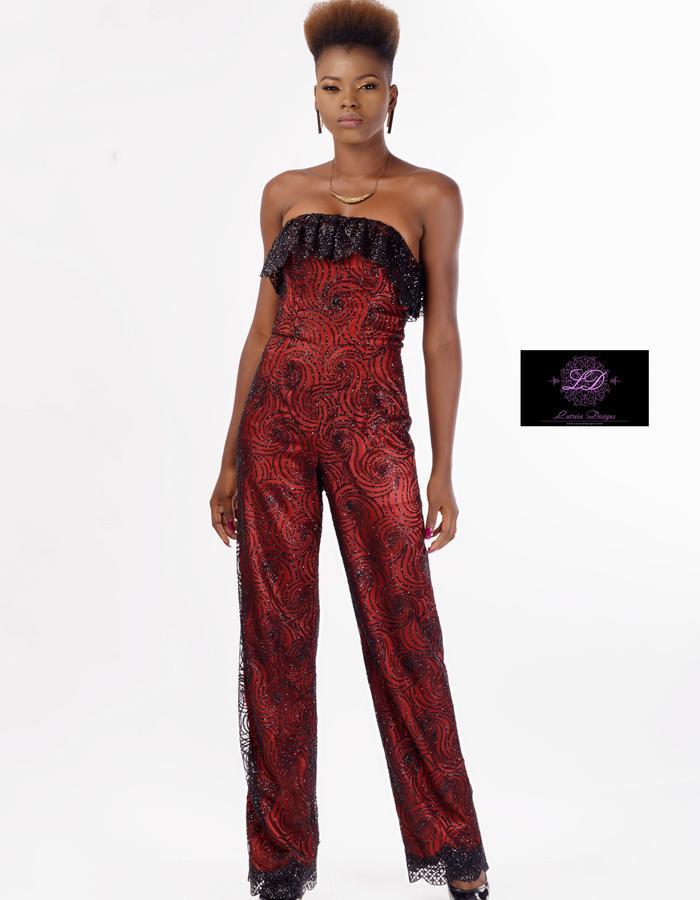 Strapless Lace & Satin Jumpsuit