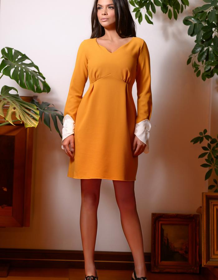 The Orange Tip Dress (High Waisted Mini Dress with Silk Cuffs)