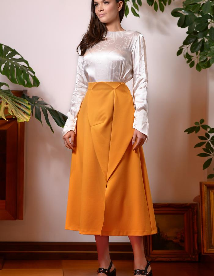Wood White Top (Silk Top with Butterfly Cuffs) & the Monarch Skirt (Midi Skirt with Front Panels)