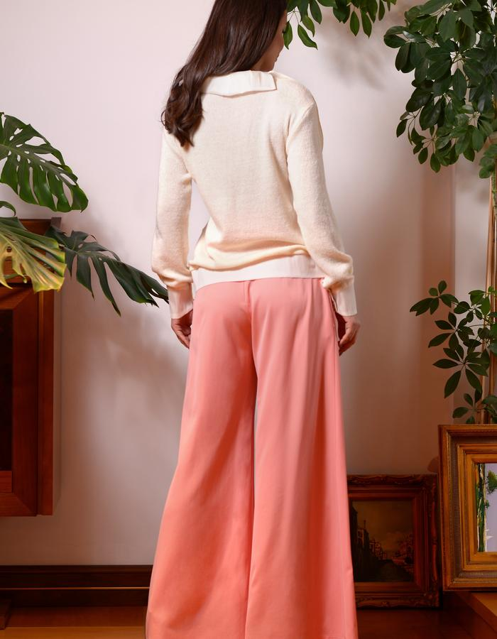 The Butterfly Effect Sweater (Mohair Blend Sweater with SIlk Butterfly) & Comma Pants (Wide Leg Wool Pants)